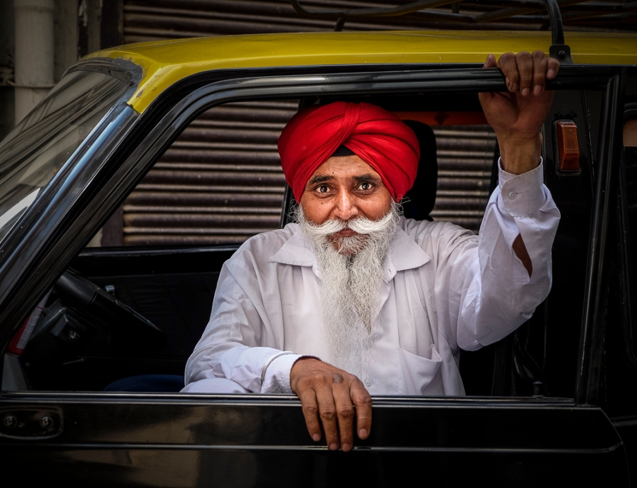 Sikh taxi driver Delhi India