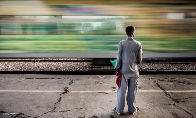 Blurred train Agra India